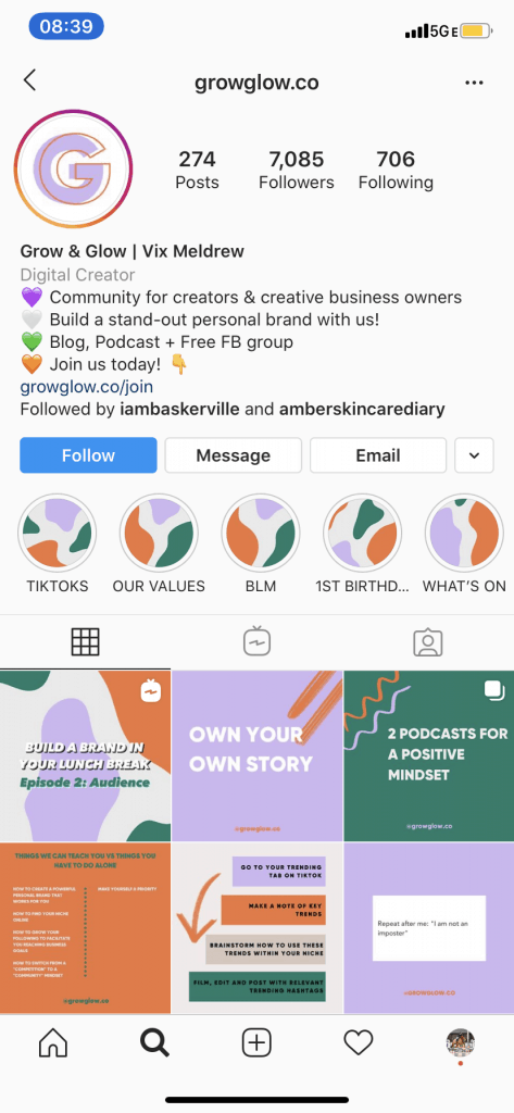 Grow & Glow account - an amazing account to teach you how to nail your Instagram growth goals