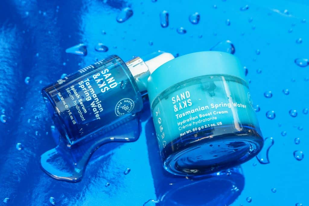 sand & sky's tasmanian spring water line featuring the serum and moisture cream