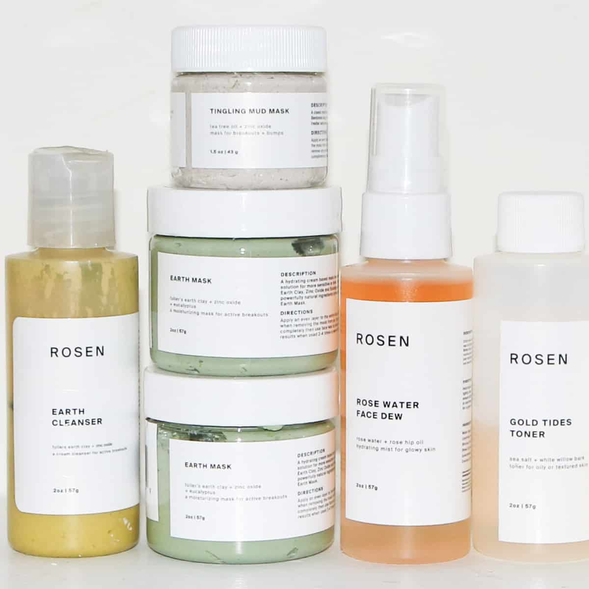 rosen skincare shelfie featuring earth cleanser, tingling mud mask, earth mask, face dew and gold tides toner