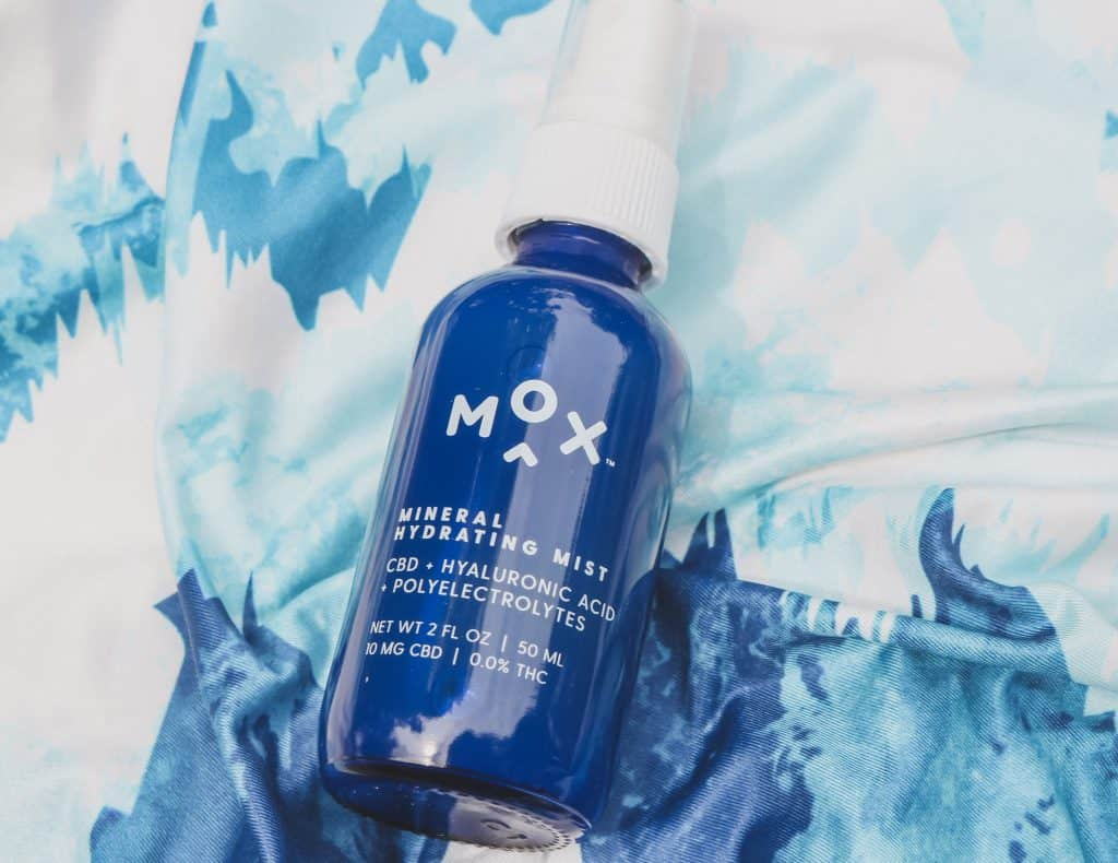 Mox Skincare mineral hydrating mist with cbd, hyaluronic acid and polyelectrolytes