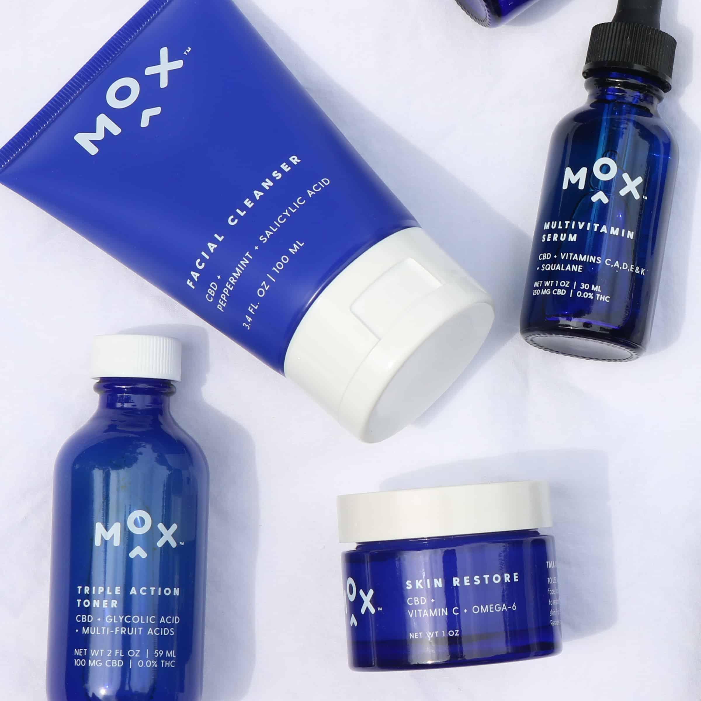 mox skincare flatlay